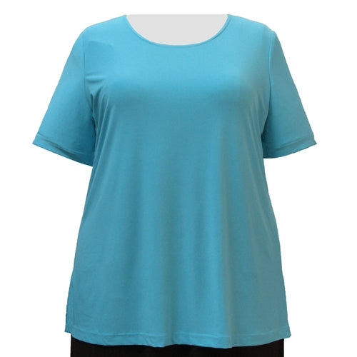 Turquoise Round Neck Pullover Top Women's Plus Size Top