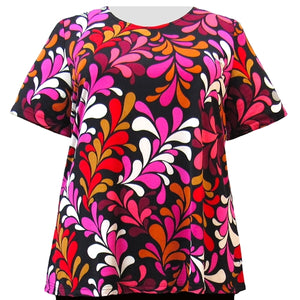 Vibrant Vines Short Sleeve Round Neck Pullover Top Women's Plus Size Top