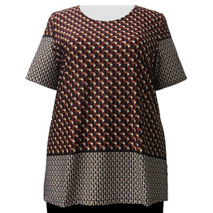 Wine Geometric Border Print Round Neck Pullover Top Women's Plus Size Top