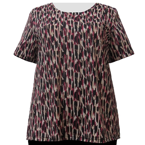 Wine Brushstrokes Round Neck Pullover Top Women's Plus Size Top