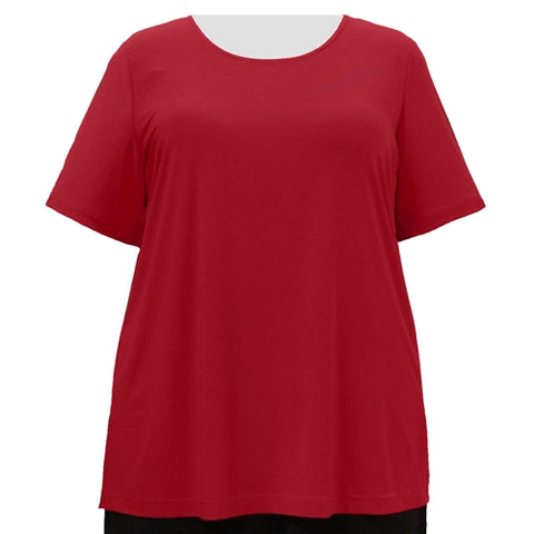 Red Round Neck Pullover Top Women's Plus Size Top