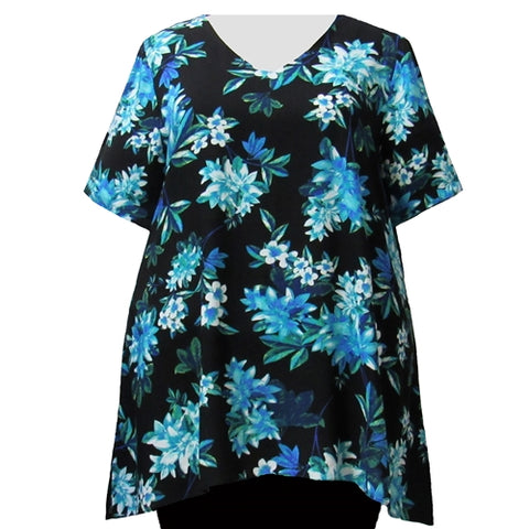Aqua Botanic V-Neck Pullover Women's Plus Size Pullover Top
