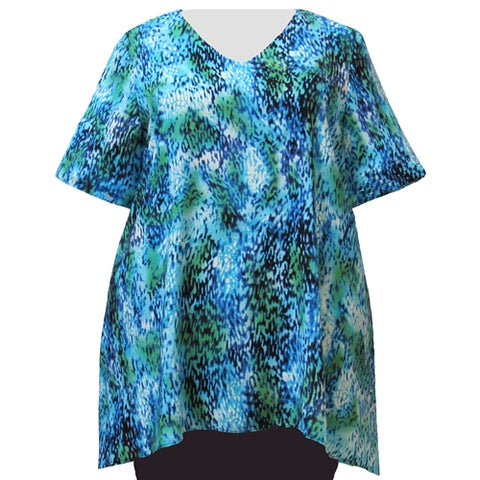 Aqua Leopard V-Neck Pullover Women's Plus Size Pullover Top