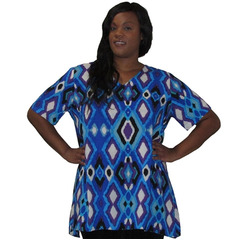 Blue Diamonds V-Neck Pullover Women's Plus Size Pullover Top