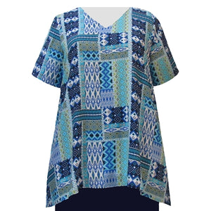 Blue Tribal V-Neck Pullover Women's Plus Size Pullover Top