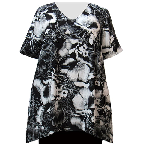 Black & White Blossoms V-Neck Pullover Women's Plus Size Pullover Top