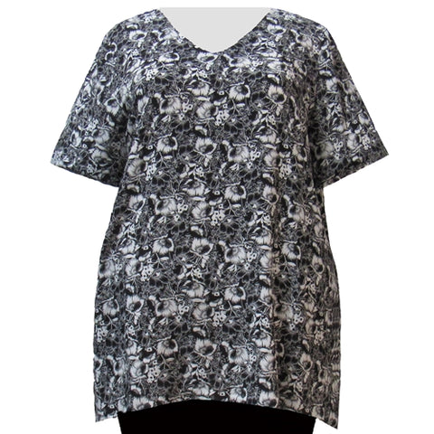 Black & White Floral Garden V-Neck Pullover Women's Plus Size Pullover Top