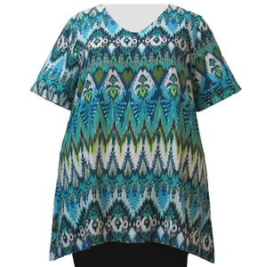 Green Tribal V-Neck Pullover Women's Plus Size Pullover Top