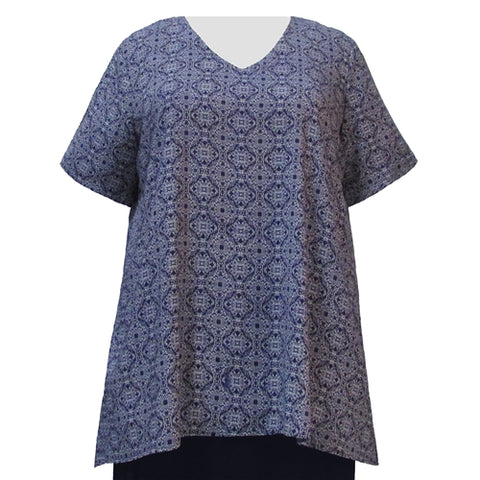 Navy Spirograph V-Neck Pullover Women's Plus Size Pullover Top