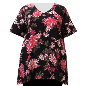 Pink Botanic V-Neck Pullover Women's Plus Size Pullover Top