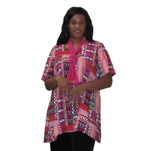 Pink Tribal V-Neck Pullover Women's Plus Size Pullover Top