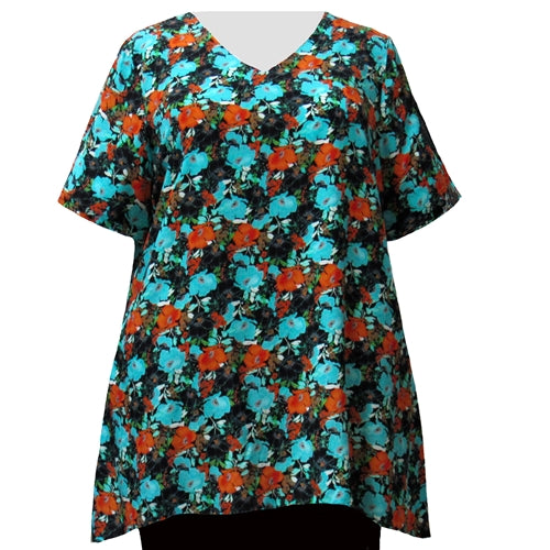 Turquoise Floral Garden V-Neck Pullover Women's Plus Size Pullover Top