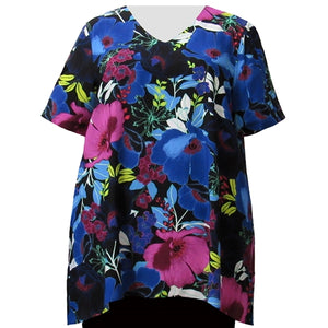 Vibrant Blossoms V-Neck Pullover Women's Plus Size Pullover Top