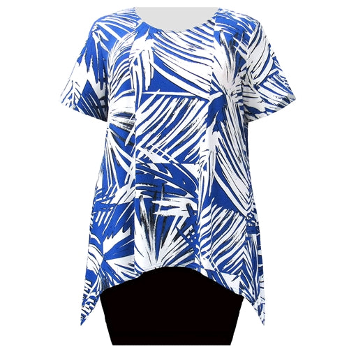 Abstract Palms Short Sleeve Round Neck Sharkbite Hem Pullover Top Women's Plus Size Top