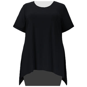 Black Short Sleeve Round Neck Sharkbite Hem Pullover Top Women's Plus Size Top