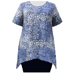 Blue Ocicat Short Sleeve Round Neck Sharkbite Hem Pullover Top Women's Plus Size Top