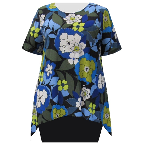 Blue Peony Short Sleeve Round Neck Sharkbite Hem Pullover Top Women's Plus Size Top