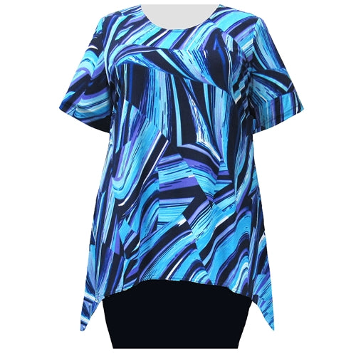 Blue Swirls Short Sleeve Round Neck Sharkbite Hem Pullover Top Women's Plus Size Top