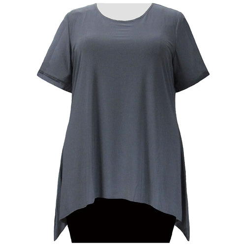 Charcoal Grey Short Sleeve Round Neck Sharkbite Hem Pullover Top Women's Plus Size Top