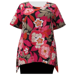 Fuchsia Peony Short Sleeve Round Neck Sharkbite Hem Pullover Top Women's Plus Size Top