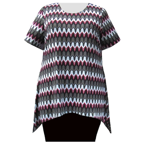 Grey Aztec Short Sleeve Round Neck Sharkbite Hem Pullover Top Women's Plus Size Top