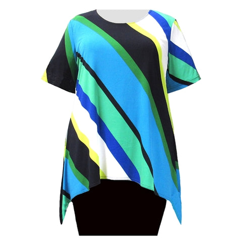 Multi Diagonal Stripe Short Sleeve Round Neck Sharkbite Hem Pullover Top Women's Plus Size Top