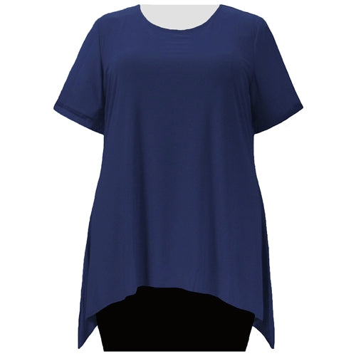 Navy Short Sleeve Round Neck Sharkbite Hem Pullover Top Women's Plus Size Top