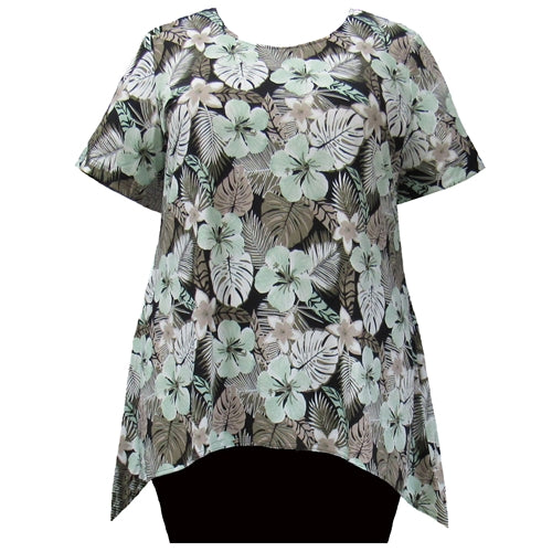 Olive Floral Short Sleeve Round Neck Sharkbite Hem Pullover Top Women's Plus Size Top