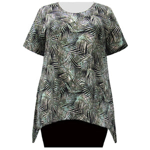 Olive Palms Short Sleeve Round Neck Sharkbite Hem Pullover Top Women's Plus Size Top