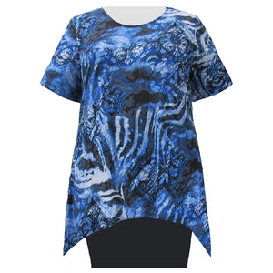 Ombre Damask Short Sleeve Round Neck Sharkbite Hem Pullover Top Women's Plus Size Top