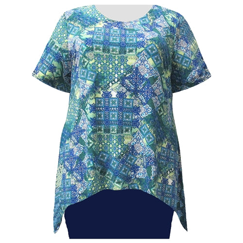 Patchwork Paisley Short Sleeve Round Neck Sharkbite Hem Pullover Top Women's Plus Size Top