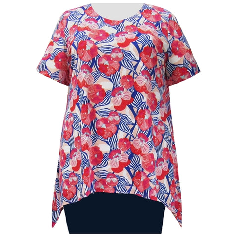 Strawberry Fields Short Sleeve Round Neck Sharkbite Hem Pullover Top Women's Plus Size Top