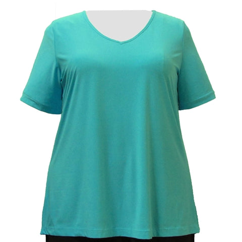 Aqua Short Sleeve V-Neck Pullover Top Women's Plus Size Top