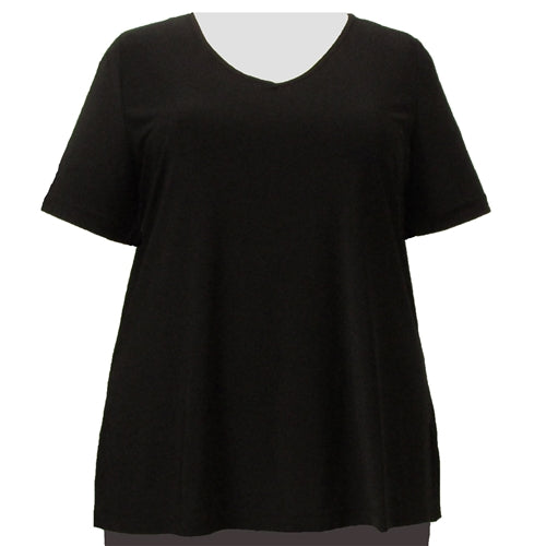 Black Short Sleeve V-Neck Pullover Top Women's Plus Size Top