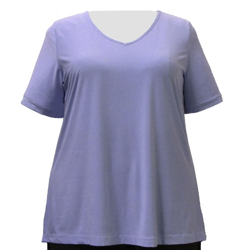 Lilac Short Sleeve V-Neck Pullover Top Women's Plus Size Top
