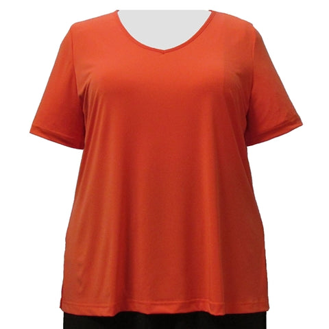 Orange Short Sleeve V-Neck Pullover Top Women's Plus Size Top