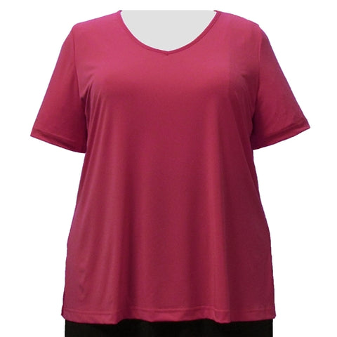 Pink Short Sleeve V-Neck Pullover Top Women's Plus Size Top