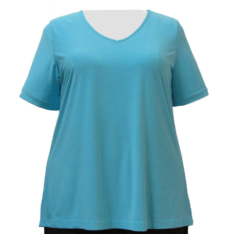 Turquoise Short Sleeve V-Neck Pullover Top Women's Plus Size Top