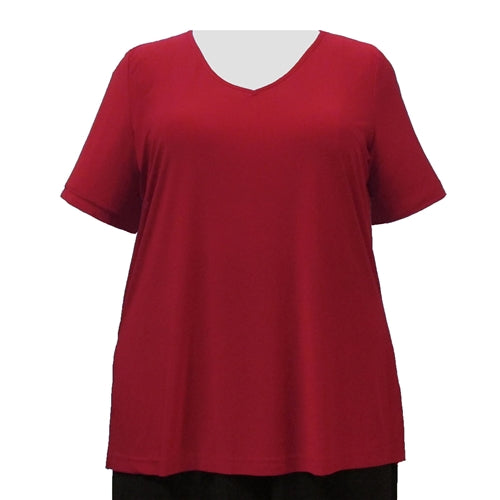 Red Short Sleeve V-Neck Pullover Top Women's Plus Size Top