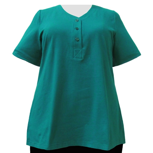 Jade Cotton Knit Short Sleeve Y-Neck Placket Blouse Women's Plus Size Top