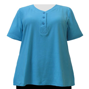 Turquoise Cotton Knit Short Sleeve Y-Neck Placket Blouse Women's Plus Size Top