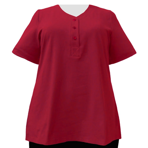Red Cotton Knit Short Sleeve Y-Neck Placket Blouse Women's Plus Size Top