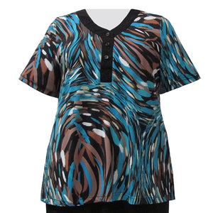 Abstract Animal Short Sleeve Y-Neck Placket Blouse Women's Plus Size Top