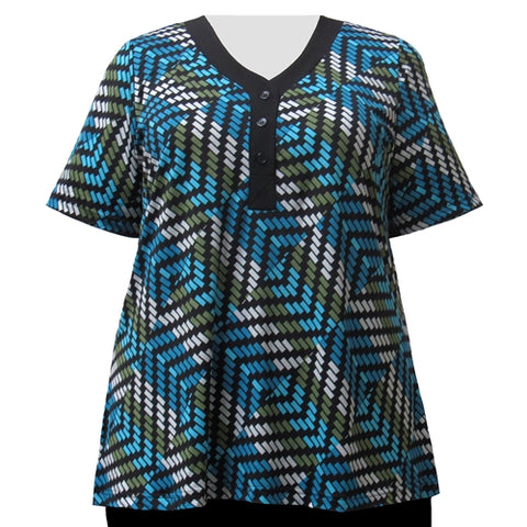 Blue Geometric Short Sleeve Y-Neck Placket Blouse Women's Plus Size Top