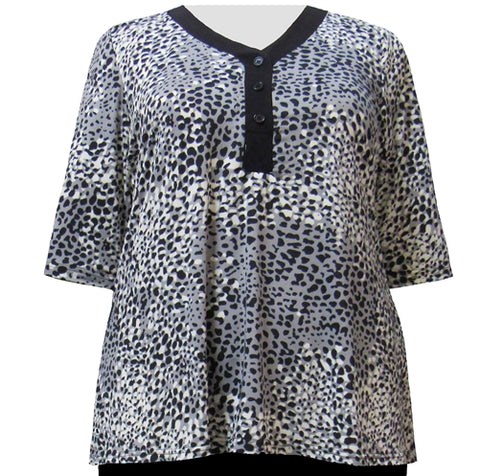 Black Ocicat 3/4 Sleeve Y-Neck Placket Blouse Women's Plus Size Top