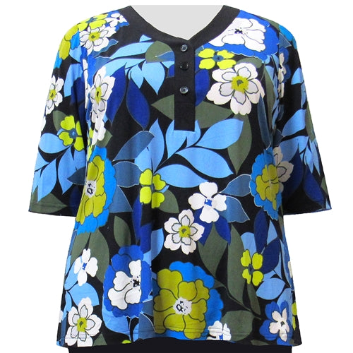 Blue Peony 3/4 Sleeve Y-Neck Placket Blouse Women's Plus Size Top