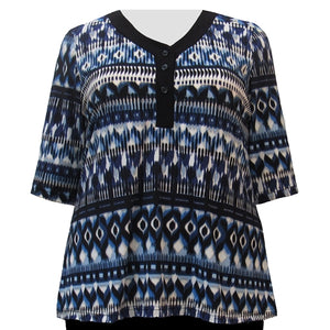 Blue Watercolor Tribal 3/4 Sleeve Y-Neck Placket Blouse Women's Plus Size Top