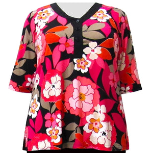 Fuchsia Peony 3/4 Sleeve Y-Neck Placket Blouse Women's Plus Size Top