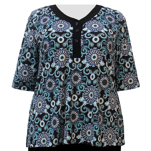 Peacock Flourish 3/4 Sleeve Y-Neck Placket Blouse Women's Plus Size Top