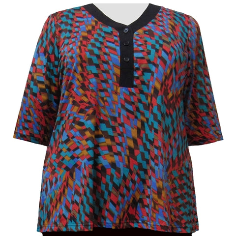 Spice Harlequin 3/4 Sleeve Y-Neck Placket Blouse Women's Plus Size Top